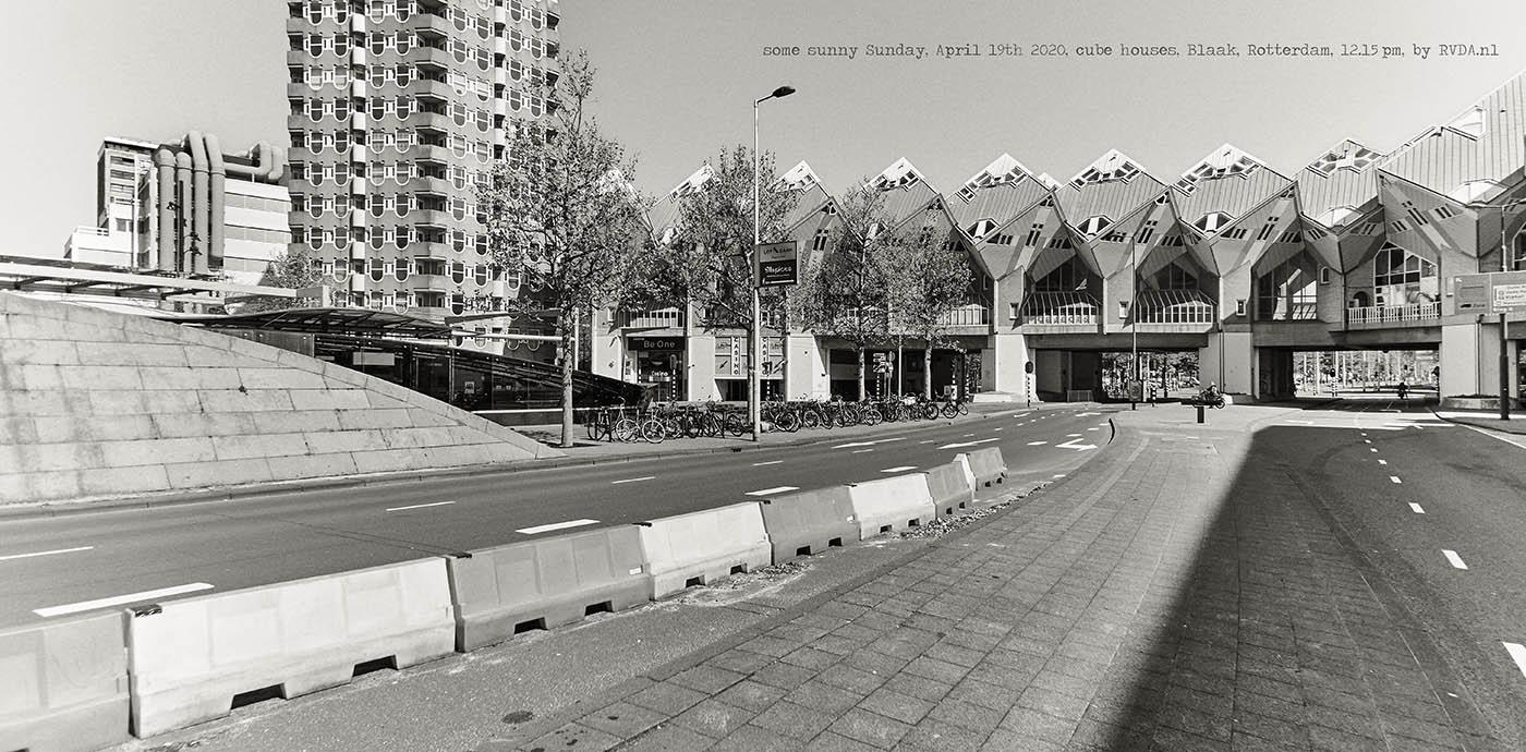 Covid-19-Corona-20-04-19-Rotterdam-by-RVDA-L1017900-cube-houses-Blaak-txt